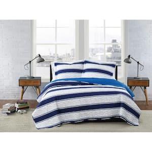 Watkins Stripe White and Blue Polyester 2-Piece Twin XL Quilt Set