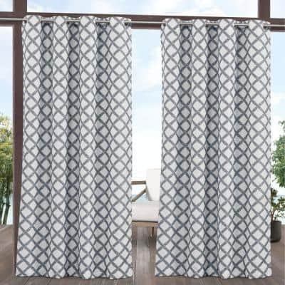 Bamboo Trellis Grey/White 54 in. W x 120 in. L, Light Filtering Grommet Top Curtain Panel (Set of 2)