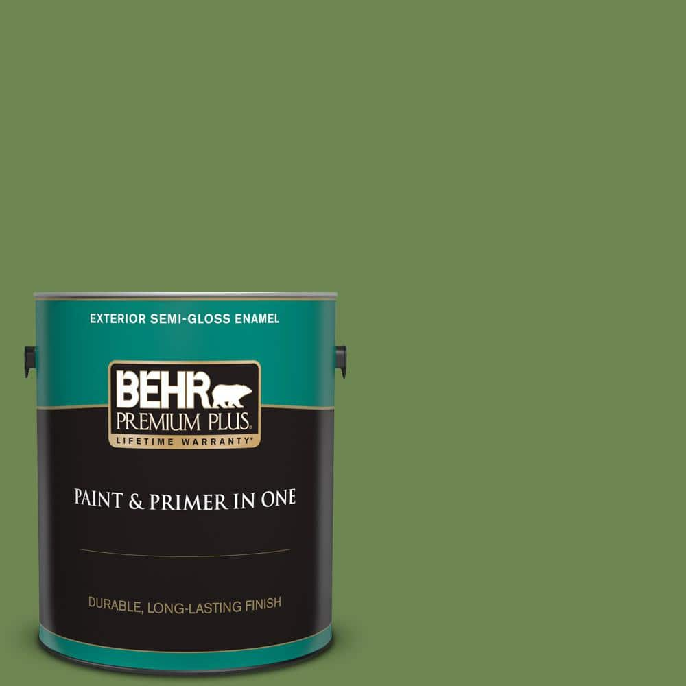 Behr Premium Plus 1 Gal M370 6 Snip Of Parsley Semi Gloss Enamel Exterior Paint And Primer In One 534001 The Home Depot
