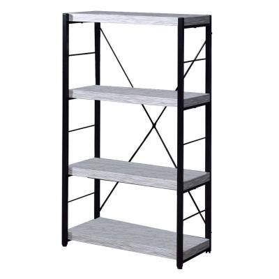 Industrial 43 in. White and Black Wooden 4 -Shelf Ladder Bookcase with Open Metal Frame
