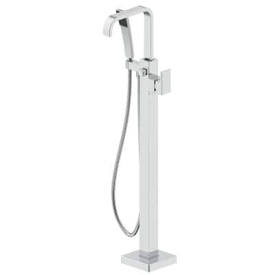 Single Handle Freestanding Tub Faucet with Hand Shower in Brushed Nickel
