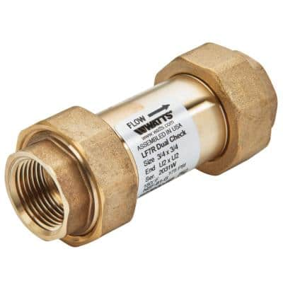 3/4 in. x 3/4 in. Lead Free Residential Dual Check Valve, Union Female NPT Inlet x Union Female NPT Outlet
