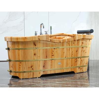 61 in. Cedar Flatbottom Bathtub in Natural Wood