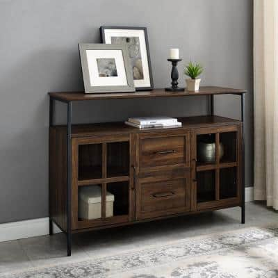 Industrial Dark Walnut 3-Door Buffet