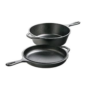 2-Piece Cast Iron Cookware Set in Black