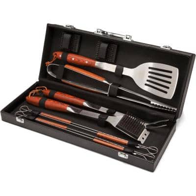 Premium Stainless Steel Grilling Tool Set with Leather Storage Case(10-Piece)