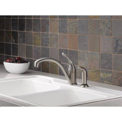 Collins Single-Handle Standard Kitchen Faucet with Side Sprayer in Stainless Steel