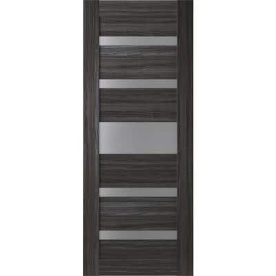 30 in. x 80 in. Gina Gray Oak Finished Frosted Glass 5 Lite Solid Core Wood Composite Interior Door Slab No Bore