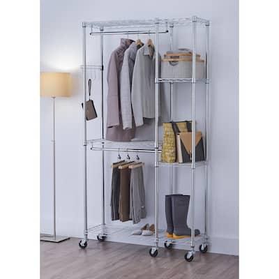 EcoStorage 14 in. D x 41 in. W x 77.5 in. H Chrome Color 5-Shelf Steel Closet System Organizer