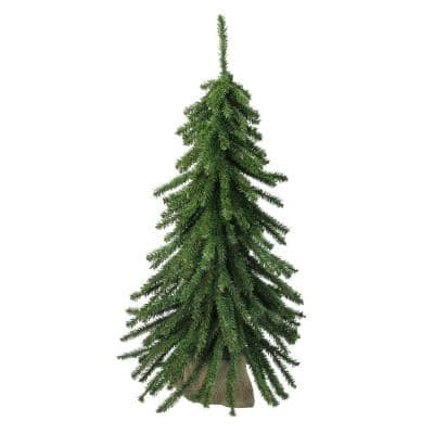24 in. UnlitDownswept Mini Village Pine Artificial Christmas Tree in Burlap Base
