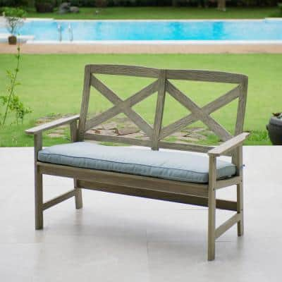 Tulle Wood Outdoor Garden Bench with Teal Cushion