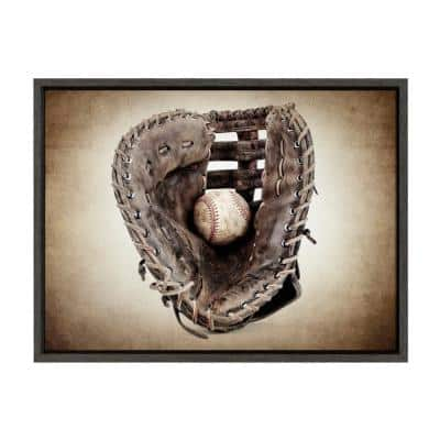 """Sylvie """"Vintage Baseball Glove"""" by Saint and Sailor Studios 24 in. x 18 in. Framed Canvas Wall Art"""
