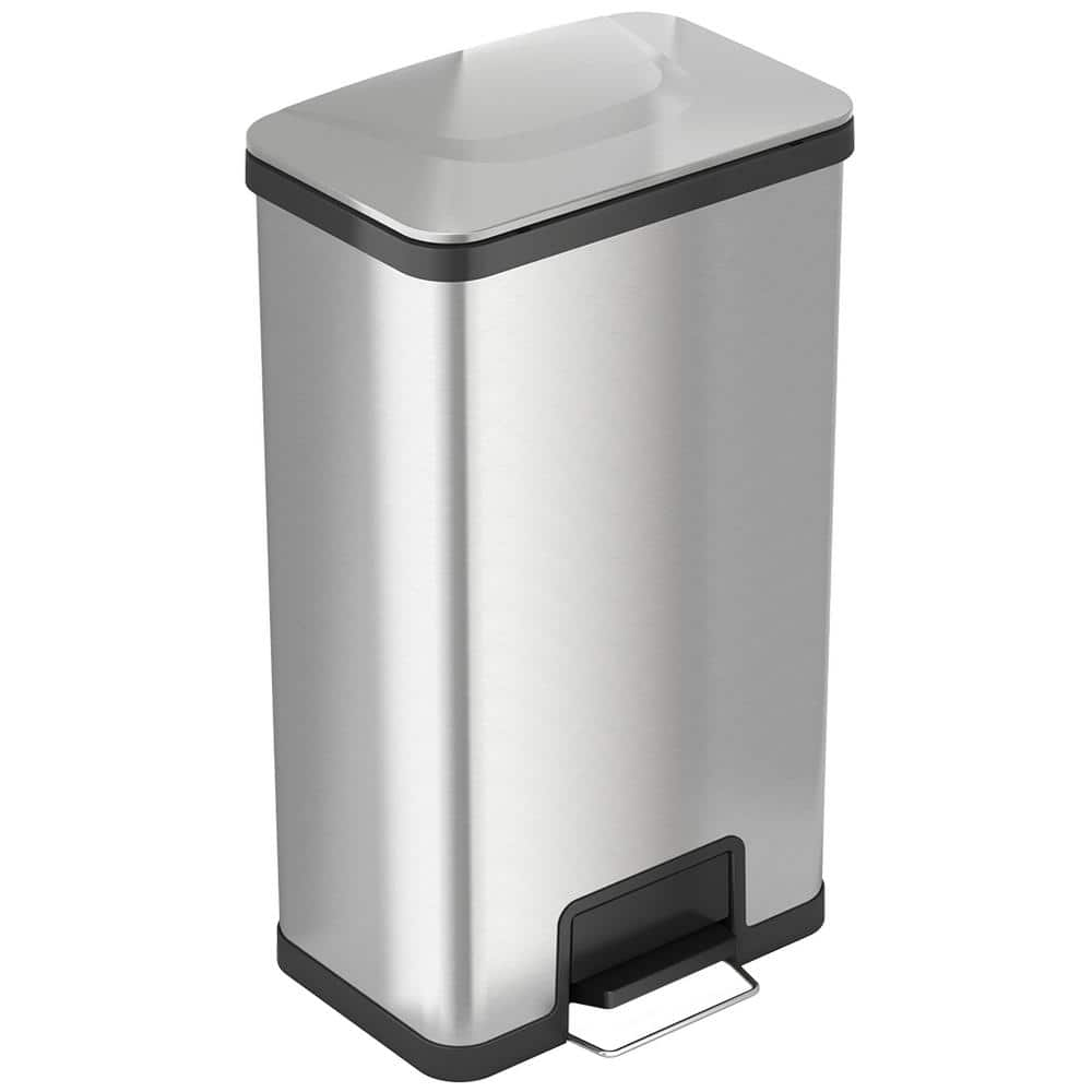 White Stainless Steel Garbage Bin Office Home Kitchen Step on Trash Can with Lid