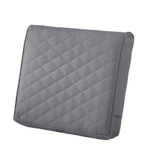 Montlake FadeSafe 21 in. W x 20 in. D x 4 in. Thick Grey Outdoor Quilted Lounge Chair Back Cushion