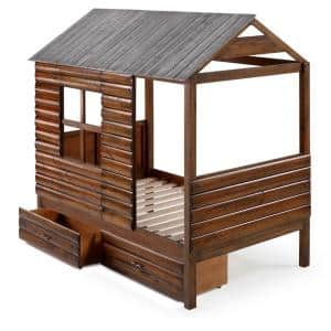 Log Cabin Rustic Walnut and Silver Twin Low Loft Bed with Dual Underbed Drawers