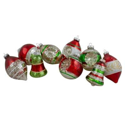 2 in. to 3.25 in. Shiny Silver and Red Striped and Glittered Mercury Finish Glass Christmas Ornaments (9-Count)