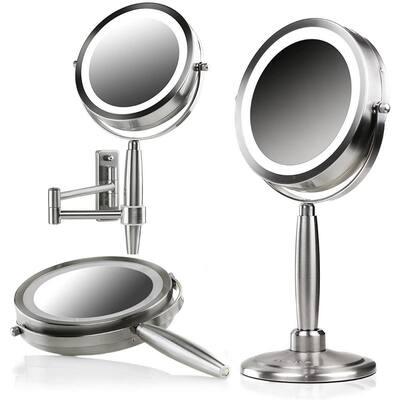 3-in-1 Handheld, Tabletop or Wall Mount Nickel Brushed Vanity Mirror (1.3 in. W x 14 in. H), 1x 8x Magnification