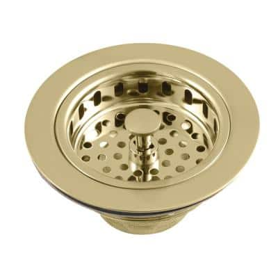 Heavy-Duty Kitchen Sink Waste Basket in Brushed Brass