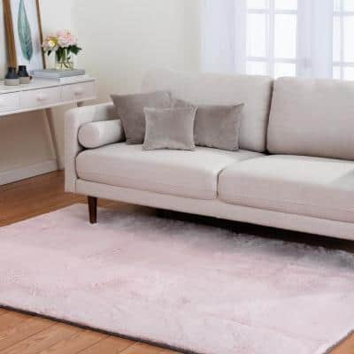 Bazaar Piper Dusty Rose 8 ft. x 10 ft. Solid Polyester Area Rug