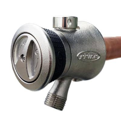 6 in. Single Handle Hot and Cold Mixing Hydrant Satin Nickel 1/2 in. Plain Copper Ends