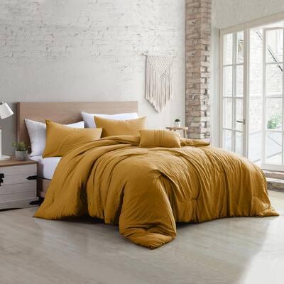 4-Piece Gold Beck Microfiber Queen Comforter Set