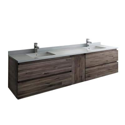 Formosa 84 in. Modern Double Wall Hung Vanity in Warm Gray with Quartz Stone Vanity Top in White with White Basins