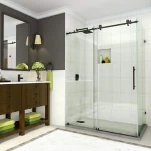 Coraline 44 in. to 48 in. x 33.875 in. x 76 in. Frameless Sliding Corner Shower Door in Matte Black