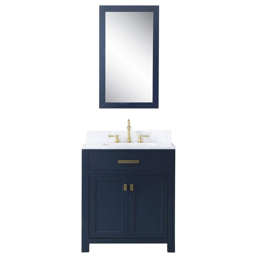 Water Creation Madison 30 In Bath Vanity In Monarch Blue With Marble Vanity Top In Carrara White With Ceramic White Basins And Mirror Vmi030cwmb01 The Home Depot