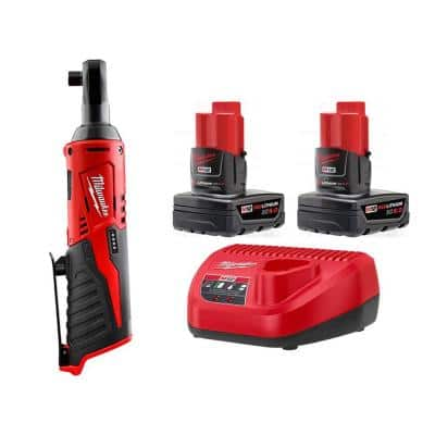 M12 12-Volt Lithium-Ion Cordless 3/8 in. Ratchet with Two M12 6.0 Ah Battery Packs and Charger