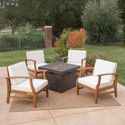 Kourtney Teak Brown 5-Piece Wood Patio Fire Pit Set with Cream Cushions