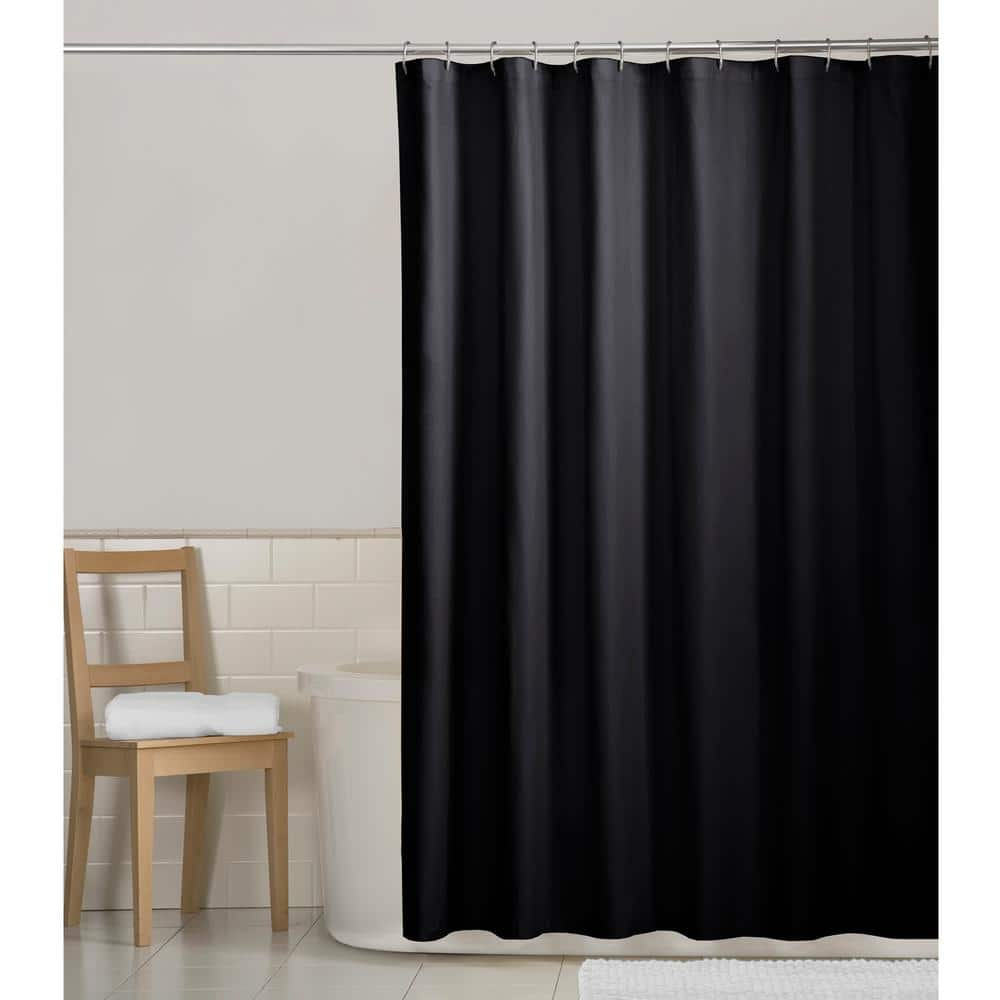 zenna home 70 in x 72 in water repellent fabric shower curtain liner in black 72639yblk the home depot