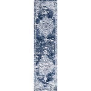 Alhambra Ornate Medallion Modern Navy/Ivory 2 ft. x 10 ft. Runner Rug