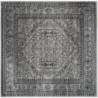 Adirondack Silver/Black 10 ft. x 10 ft. Square Medallion Border Area Rug