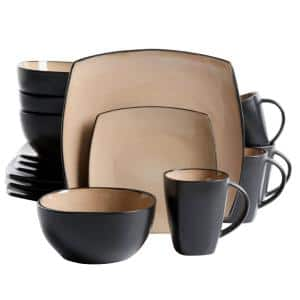 Soho Lounge 16-Piece Casual Taupe Stoneware Dinnerware Set (Service for 4)