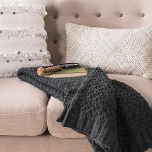 Affinity 50 in. x 60 in. Dark Gray Knit Throw Blanket