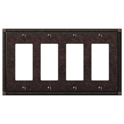 Georgian 4 Gang Rocker Metal Wall Plate - Tumbled Aged Bronze