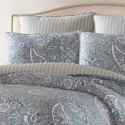 Lancaster Blue Paisley Cotton Comforter Set