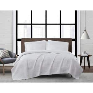 Sasha Paisley White and Neutral Polyester 2-Piece Twin XL Quilt Set