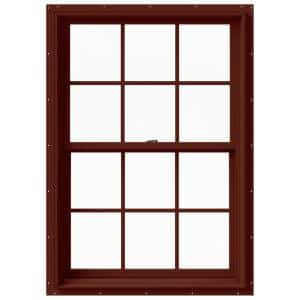 33.375 in. x 48 in. W-2500 Series Red Painted Clad Wood Double Hung Window w/ Natural Interior and Screen