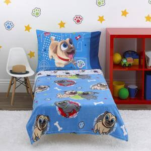 Puppy Dog Pals - Puppy Pal Fun - 4-Piece Toddler Bed Set - Coral Fleece Toddler Blanket, Sheets, Pillowcase
