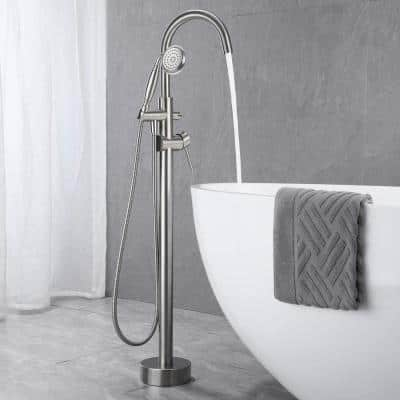 6 GPM Floor Mount Free Standing Tub Faucet with Hand Held Shower and Lever Handle in Brushed Nickel