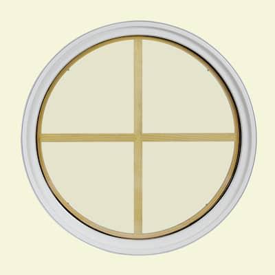 24 in. x 24 in. Round White 6-9/16 in. Jamb 2-1/4 in. Interior Trim 4-Lite Grille Geometric Aluminum Clad Wood Window