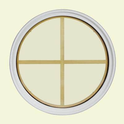30 in. x 30 in. Round White 6-9/16 in. Jamb 4-Lite Grille Geometric Aluminum Clad Wood Window