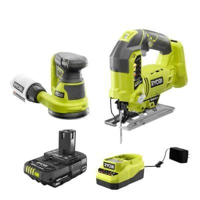 ONE+ 18V Cordless 2-Tool Combo Kit with Jig Saw, 5 in. Random Orbit Sander, 2.0 Ah Battery, and Charger