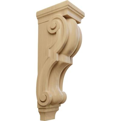 8 in. x 6-1/2 in. x 22 in. Unfinished Wood Cherry Small Jumbo Traditional Corbel