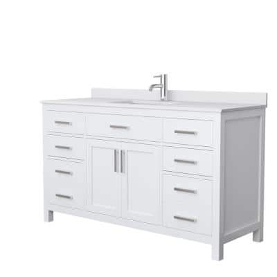 Beckett 60 in. W x 22 in. D Single Bath Vanity in White with Cultured Marble Vanity Top in White with White Basin