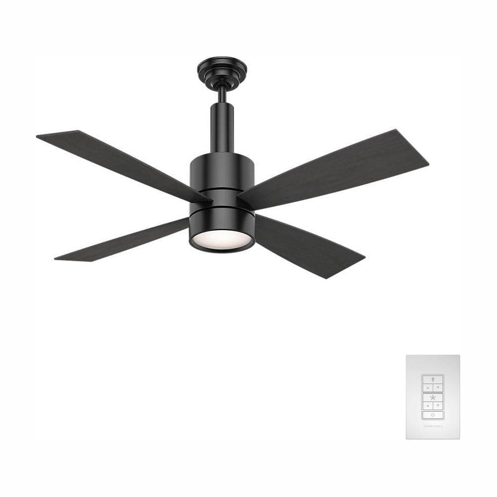 Casablanca Bullet 54 In Integrated Led Indoor Matte Black Ceiling Fan With Light And Wall Control 59289 The Home Depot