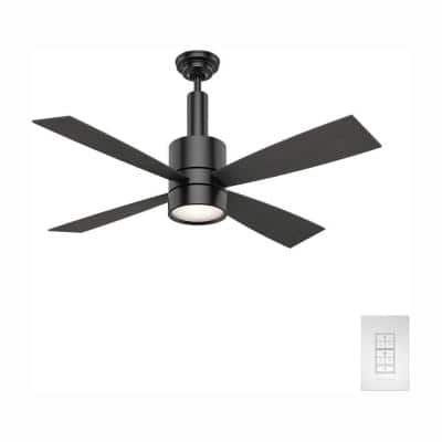 Bullet 54 in. Integrated LED Indoor Matte Black Ceiling Fan with Light and Wall Control