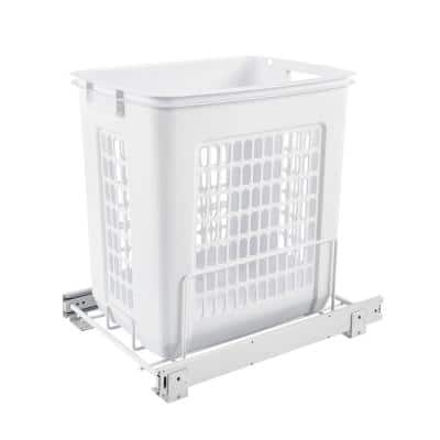 19.25 in. H x 14.25 in. W x 20 in. D Deep White Polymer Pull-Out Hamper with Full-Extension Slides
