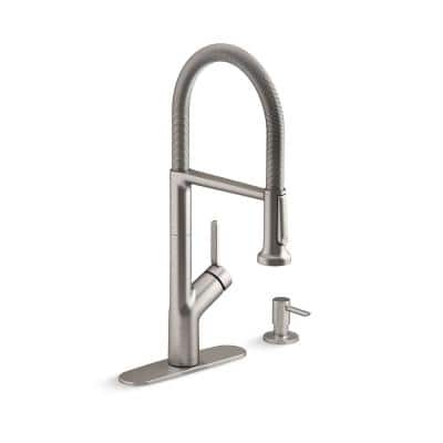 Setra Single-Handle Semi-Professional Kitchen Sink Faucet with Soap Dispenser in Vibrant Stainless